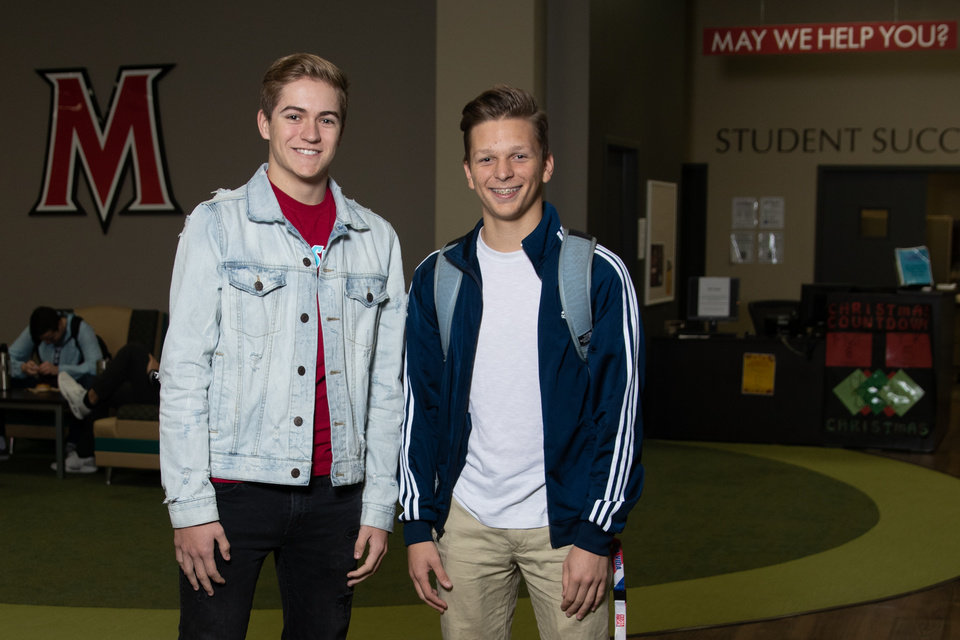 Photo - Newcastle High School juniors Josh Lewis and Blake Sanders are two of many OKC area students taking concurrent classes at MACU. (Photo provided by MACU)