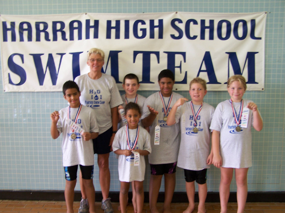 Six cousins attended Harrah Swim Camp with Coach Gwenna Dixon:  Back row, left to right:  Coach Gwenna Dixon, David Heise, Evan Jackson, Daniel Fijalka, Lindsey Fijalka  Front row, left to right:  Cole Jackson and Laura Jo Jackson<br/><b>Community Photo By:</b> Bessie Jackson<br/><b>Submitted By:</b> Audrey, Harrah