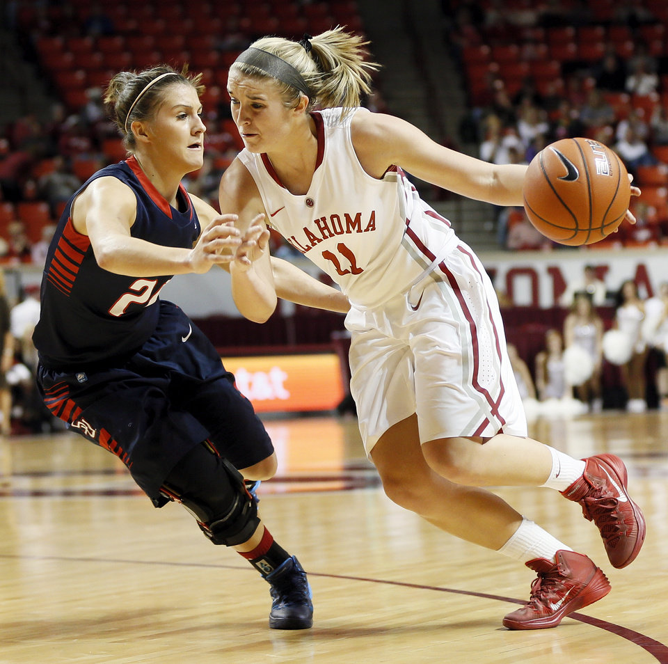 Photo - Oklahoma's Derica Wyatt (11) drives the ball against Samford's Shelby Campbell (20) during a women's college basketball game between the University of Oklahoma Sooners (OU) and the Samford Bulldogs at Lloyd Noble Center in Norman, Okla., Sunday, Dec. 29, 2013. Photo by Nate Billings, The Oklahoman