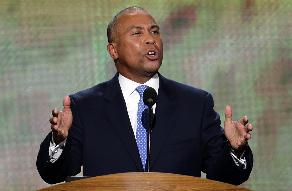Photo - Massachusetts Gov. Deval Patrick addresses the Democratic National Convention in Charlotte, N.C., on Tuesday, Sept. 4, 2012. (AP Photo/J. Scott Applewhite)  ORG XMIT: DNC174