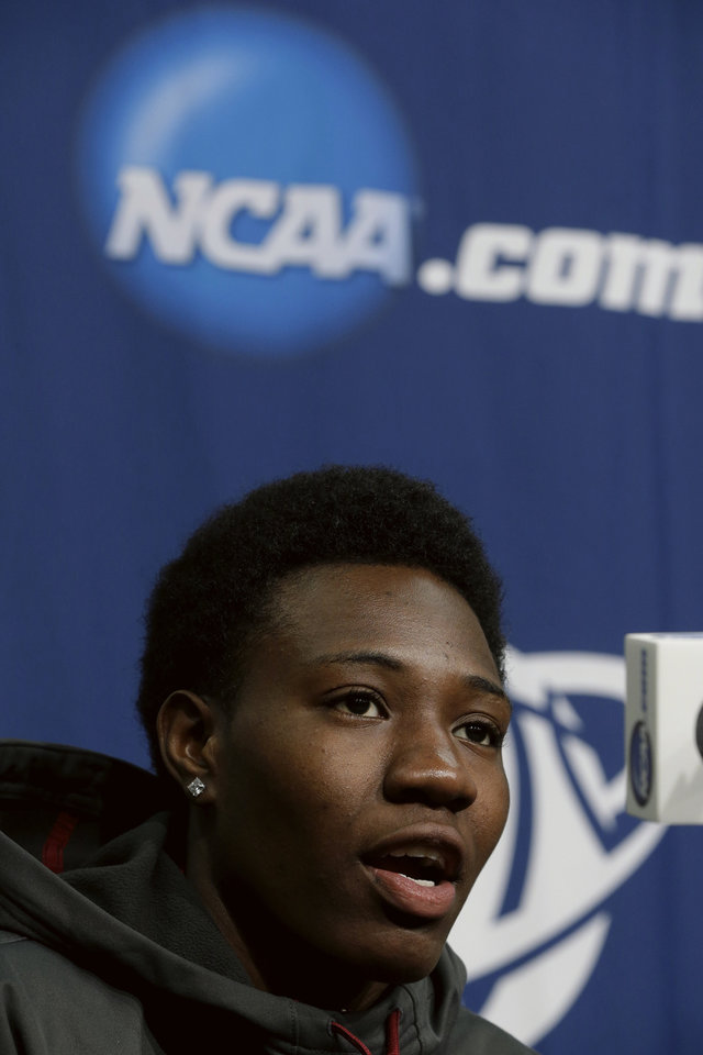 Photo - Florida State's Natasha Howard speaks at a news conference in Ames, Iowa, Sunday, March 23, 2014. Florida State will play Stanford in the second round of the NCAA women's college basketball tournament in Ames on Monday. (AP Photo/Nati Harnik)