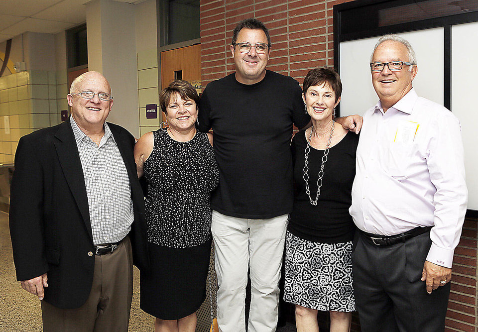 Above: Steve Lowell, Debbie Cheatham, Vince Gill, Beckie Lowell, Bill Cheatham.  PHOTO BY GARETT FISBECK, THE OKLAHOMAN