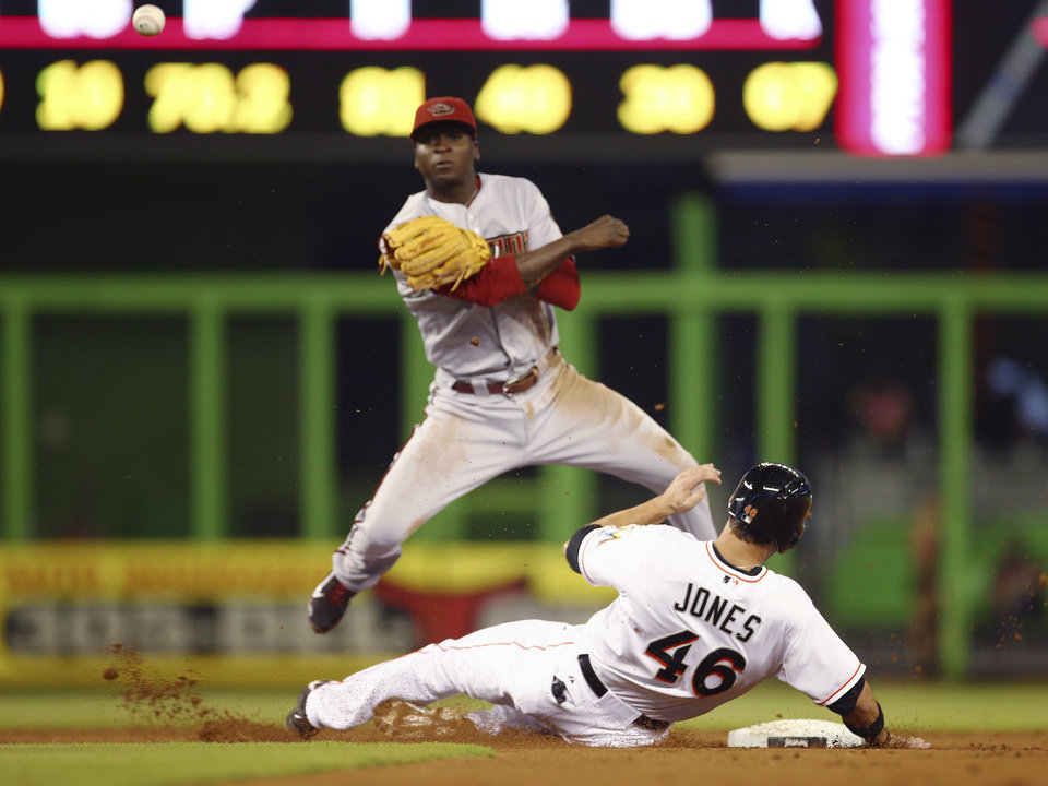 Photo - After forcing out Miami Marlins' Garrett Jones (46) at second, Arizona Diamondbacks shortstop Didi Gregorius makes a throw to complete a double play during the first inning of a baseball game in Miami, Friday, Aug. 15, 2014. Jarrod Saltalamacchia was out at first. (AP Photo/J Pat Carter)