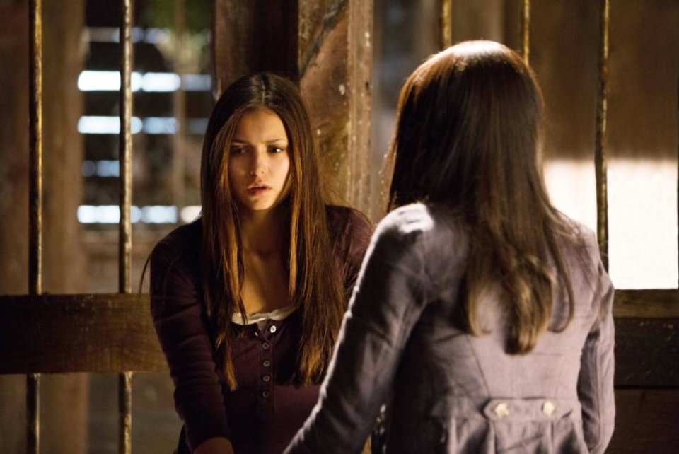 """""""Growing Pains""""--LtoR: Nina Dobrev as Elena and Kat Graham as Bonnie on THE VAMPIRE DIARIES on The CW. Photo: Bob Mahoney/The CW ©2012 The CW Network. All Rights Reserved."""