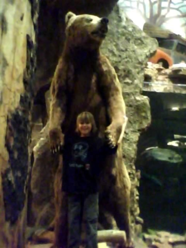 SEE the wild bear.. at  the Bass  PRo shop.. I bet he's had his days.. humm ya think<br/><b>Community Photo By:</b> Tama<br/><b>Submitted By:</b> Tama, Midwest
