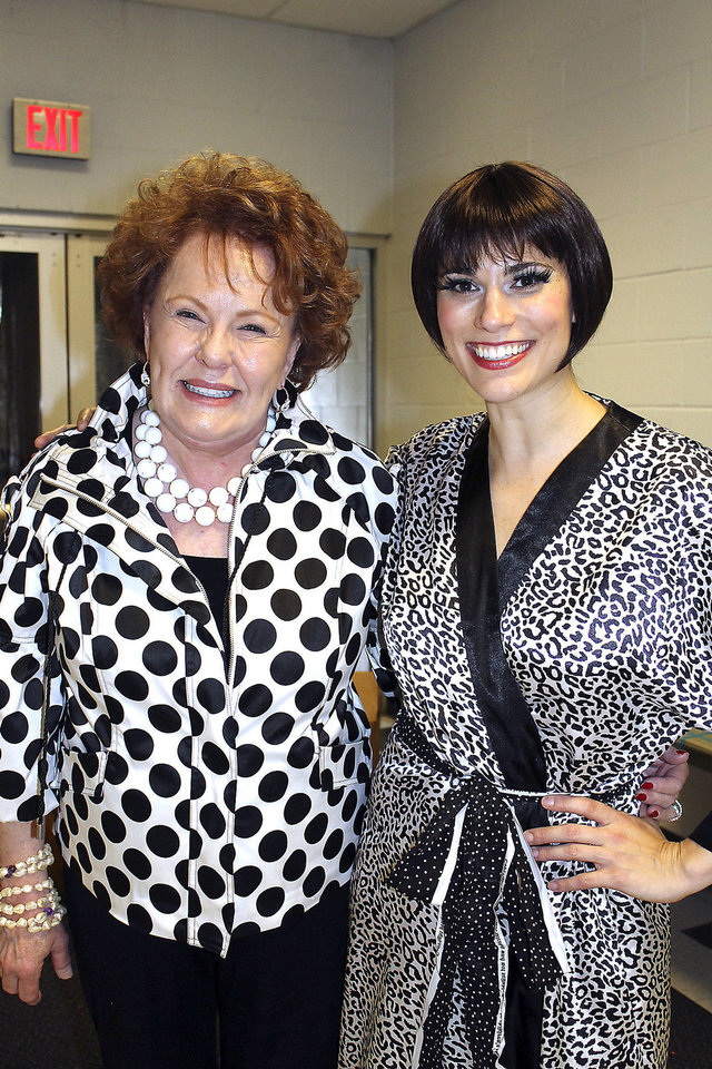 Bobbie Burbridge Lane poses with actress Milena Govich, who played the lead in Lyric�s �Sweet Charity� production. Lane, who recently celebrated her 78th birthday, was Lyric�s original �Charity� in the 1969 production of the show.