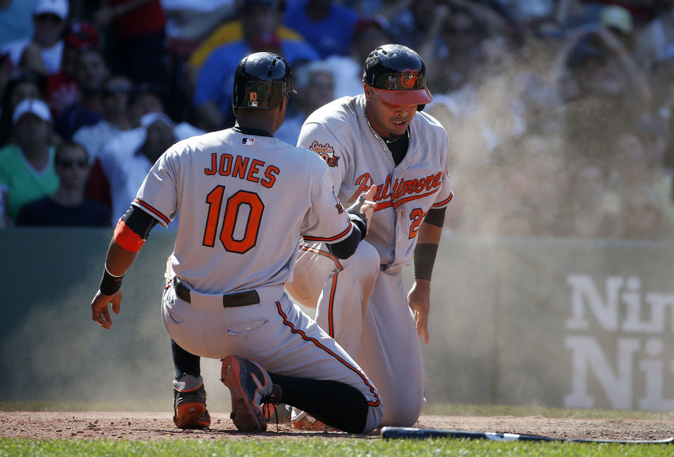Photo - Baltimore Orioles' Adam Jones, left, and Nelson Cruz, right,  celebrate after scoring on an RBI single by J.J. Hardy in the seventh inning of a baseball game against the Boston Red Sox in Boston, Sunday, July 6, 2014. (AP Photo/Michael Dwyer)