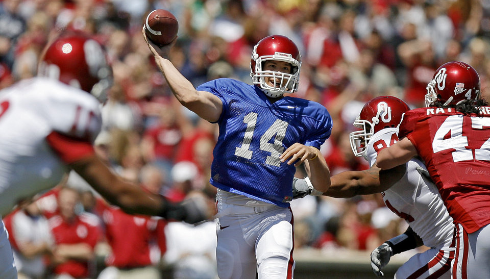 OU's Sam Bradford throws the ball during Oklahoma's Red-White football game at The Gaylord Family - Oklahoma Memorial Stadiumin Norman, Okla., Saturday, April 11, 2009. Photo by Bryan Terry, The Oklahoman