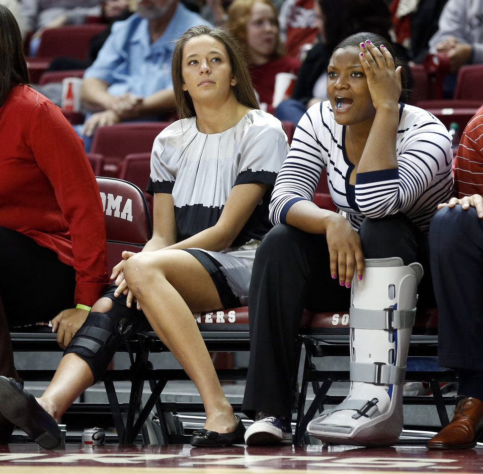 Injured players Maddie Manning, left, and Kaylon Williams watch teammates during the second half as the University of Oklahoma (OU) Sooner women's basketball team plays the Northwestern State Lady Demons at the Lloyd Noble Center on Thursday, Nov. 29, 2012  in Norman, Okla. Photo by Steve Sisney, The Oklahoman