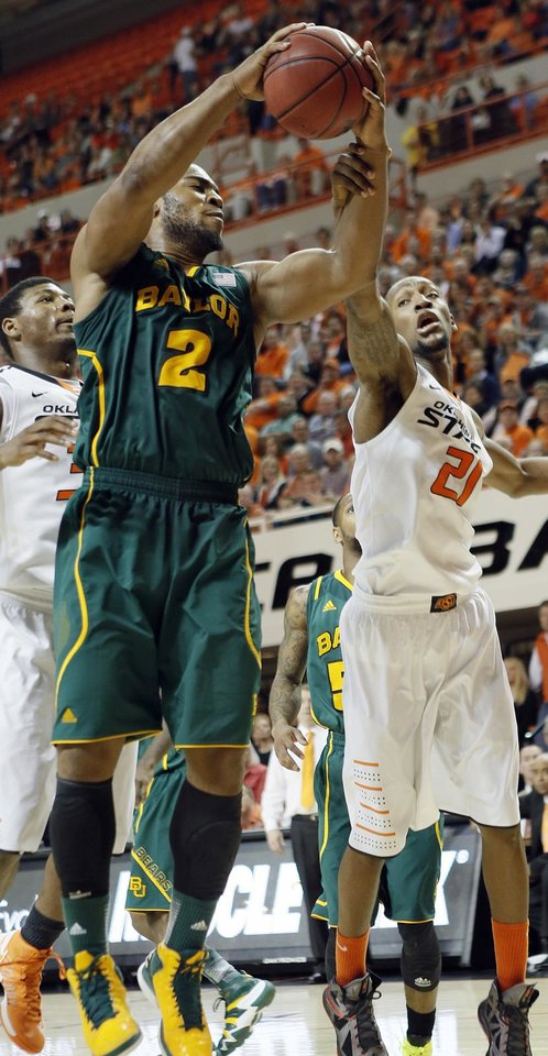 Baylor\'s Rico Gathers (2) and Oklahoma State \'s Kamari Murphy (21) battle for the ball during the college basketball game between the Oklahoma State University Cowboys (OSU) and the Baylor University Bears (BU) at Gallagher-Iba Arena on Wednesday, Feb. 5, 2013, in Stillwater, Okla. Photo by Chris Landsberger, The Oklahoman
