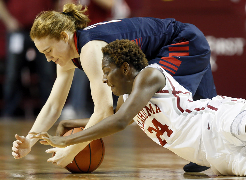 Photo - Oklahoma's Sharane Campbell (24) and Samford's Hannah Nichols (2) chase a loose ball during a women's college basketball game between the University of Oklahoma Sooners and the Samford Bulldogs at Lloyd Noble Center in Norman, Okla., Sunday, Dec. 29, 2013. OU won, 66-35. Photo by Nate Billings, The Oklahoman