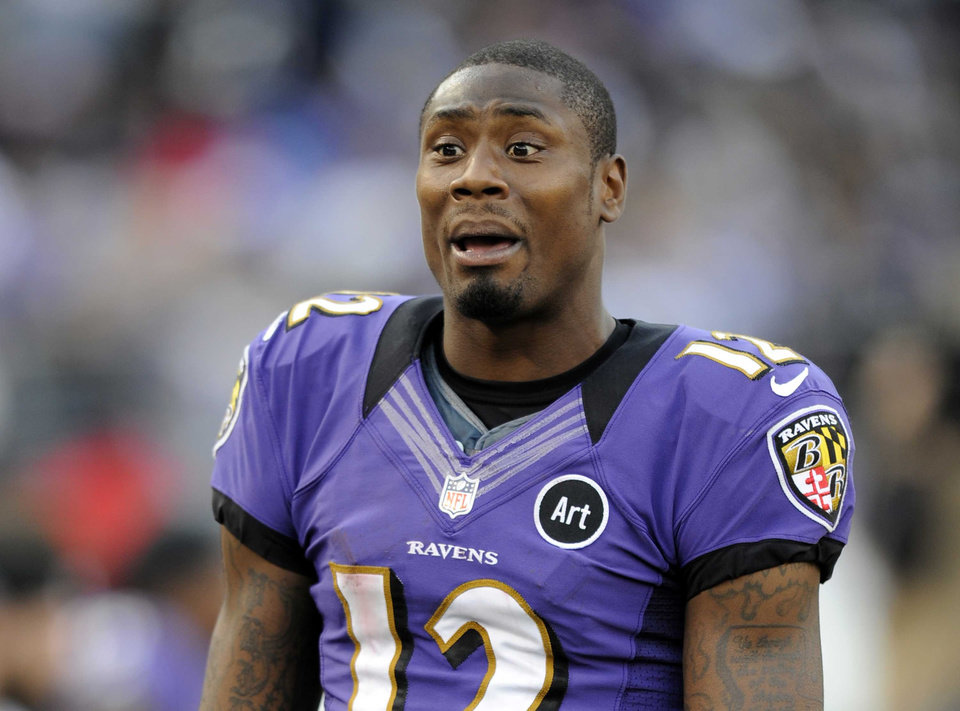 "FILE - This Nov. 11, 2012 file photo shows Baltimore Ravens wide receiver Jacoby Jones on the sideline during an NFL football game against the Oakland Raiders in Baltimore. Jones  is one of eleven celebrity contestants who will compete on the next edition of ""Dancing with the Stars."" The new season kicks off on ABC with a two-hour premiere on March 18. (AP Photo/Nick Wass, file)"