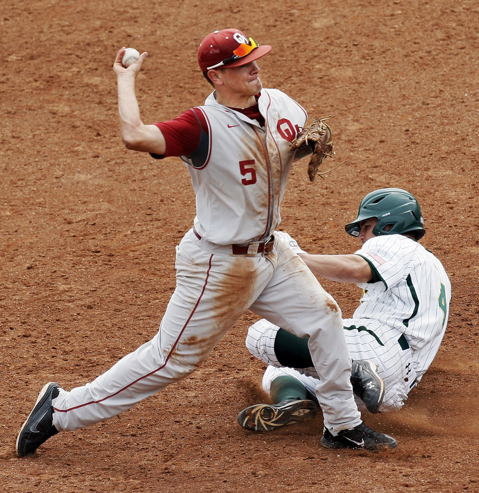 OU's Caleb Bushyhead (5) throws back to first base over Baylor's Nathan Orf (4) to complete a double play in the fifth inning during a Big 12 Baseball Championship tournament game between the Oklahoma Sooners and Baylor Bears at the Chickasaw Bricktown Ballpark in Oklahoma City, Saturday, May 26, 2012. OU won, 7-2. Photo by Nate Billings, The Oklahoman