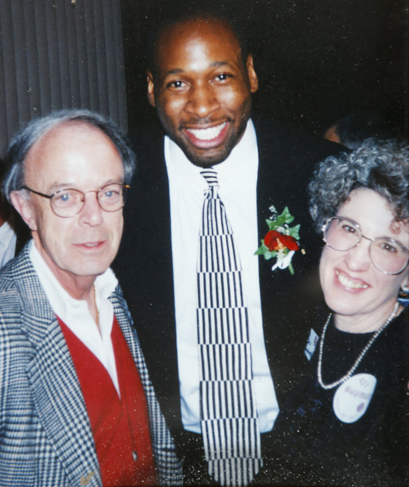 Photo - CHARLES HOLLINGSWORTH: Photo copy from of Charles and Cheryl Hollingsworth with Wayman Tisdale.