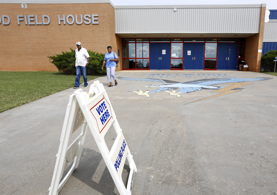 Photo - Precinct 114 voters leave after marking  their ballots inside Millwood Field House on Tuesday, Sep 12, 2017. Photo by Jim Beckel, The Oklahoman