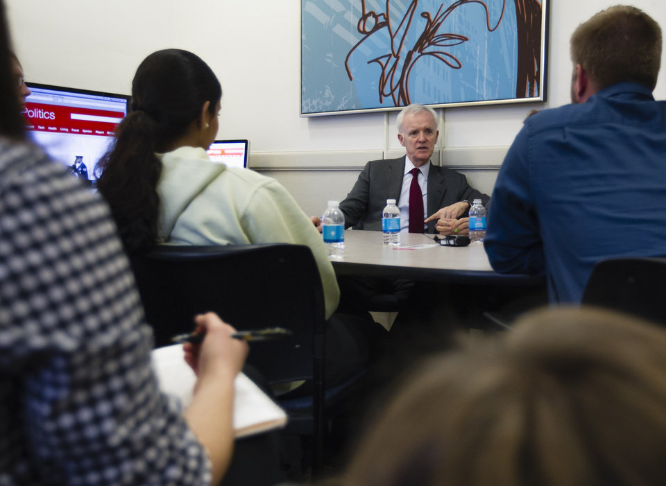 Democratic Senate candidate Bob Kerrey speaks to journalism students at the University of Nebraska at Omaha, in Omaha, Neb., Monday, Nov. 5, 2012. Kerrey is running against Republican Deb Fischer. (AP Photo/Nati Harnik)
