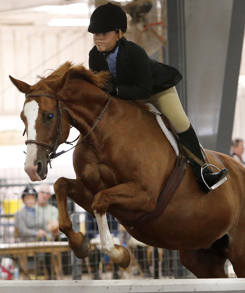 Photo -  Tommie-Ann deLeon rides Molly in the Working Hunter Class during the Cleveland County Free Fair Horse Show at the county fairgrounds. PHOTO BY STEVE SISNEY, THE OKLAHOMAN   STEVE SISNEY -