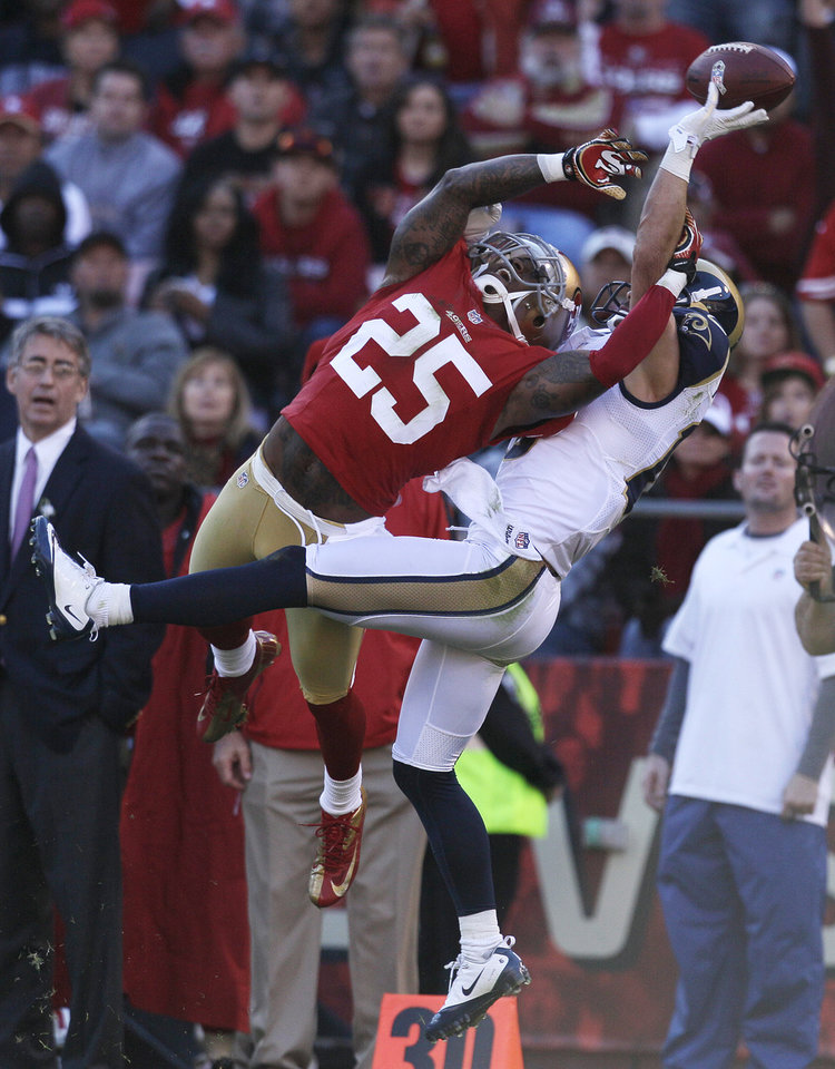 San Francisco 49ers cornerback Tarell Brown, left, breaks up a pass intended for St. Louis Rams wide receiver Danny Amendola, right, during the third quarter of an NFL football game in San Francisco, Sunday, Nov. 11, 2012. (AP Photo/Jeff Chiu)