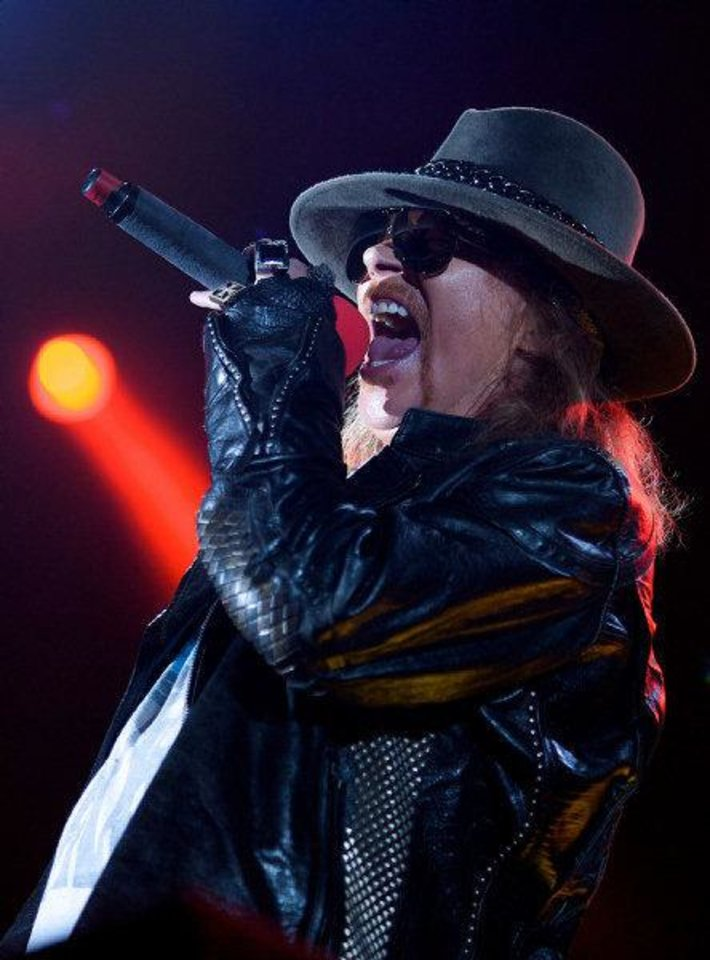 Axl Rose of Guns N' Roses performs during a concert on the Yas Island in Abu Dhabi, United Arab Emirates, on Dec. 16, 2010. AP Photo <strong>Nousha Salimi</strong>