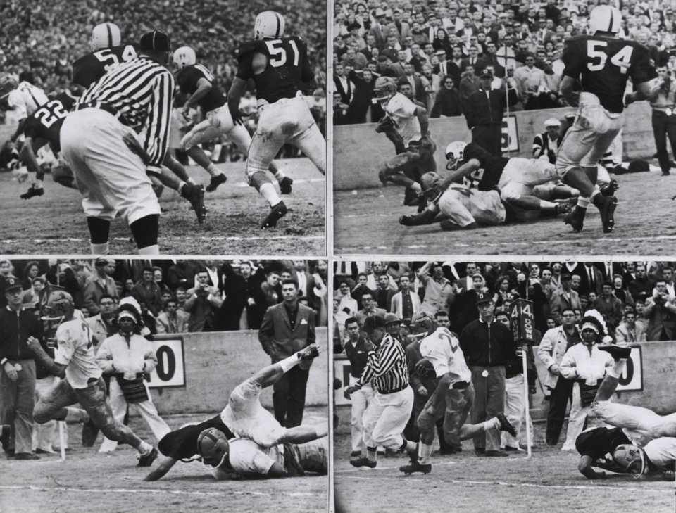 This sequence shows Notre Dame's touchdown from the 1957 game. Notre Dame's Dick Lynch scored with 3:50 left in the game and the Irish won 7-0.  COURTESY OF UNIVERSITY OF OKLAHOMA SPORTS INFORMATION