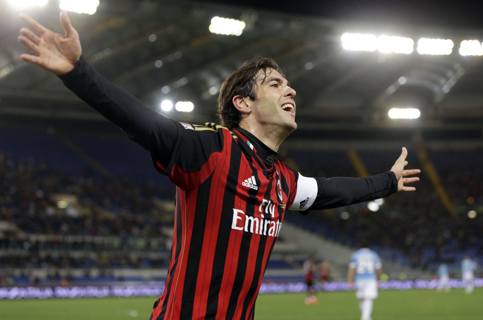 Photo - AC Milan's Ricardo Kaka celebrates after he scored during a Serie A soccer match between Lazio and AC Milan, at Rome's Olympic Stadium, Sunday, March 23, 2014. (AP Photo/Andrew Medichini)