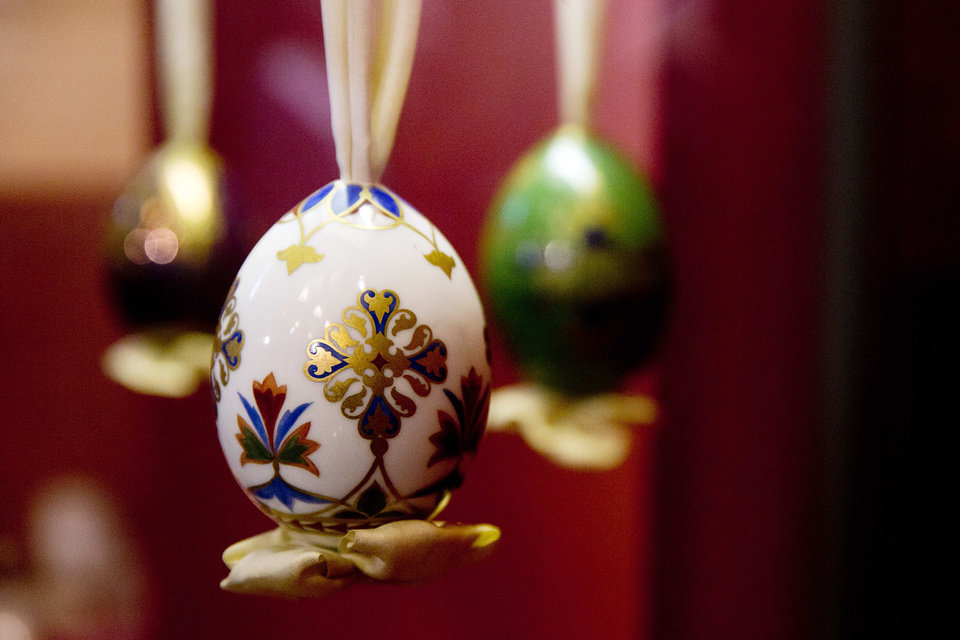 Photo - An Easter egg produced at the end of the 19th century, is on display at the Imperial Easter eggs exhibition in the Historical Museum in Moscow, Russia, Friday, April 11, 2014. The exhibition of Easter eggs linked to the Russian Emperor family opened in the Historical Museum on Friday. (AP Photo/Pavel Golovkin)
