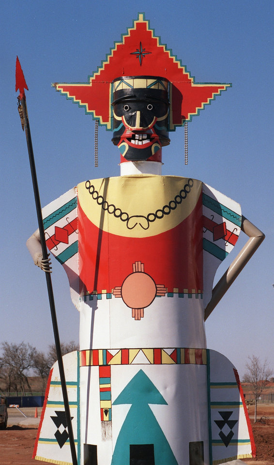 Folk art totem at the entrance of the new Route 66 Museum in Elk City.  Staff photo by Jim Argo.