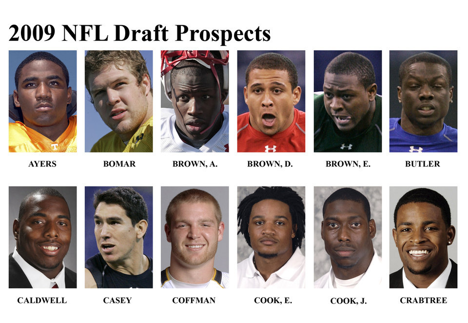 Photo - ** FOR USE AS DESIRED WITH NFL DRAFT STORIES ** FILE - In these university handouts and file photos top college football prospects for the 2009 NFL Draft are shown. They are : Robert Ayers, Rhett Bomar, Andre Brown, Donald Brown, Everette Brown, Darius Butler, Antoine Caldwell, James Casey, Chase Coffman, Emanuel Cook, Jared Cook and Michael Crabtree. (AP Photo) ** MAGS OUT. NO SALES, EDITORIAL USE ONLY ** ORG XMIT: NY154