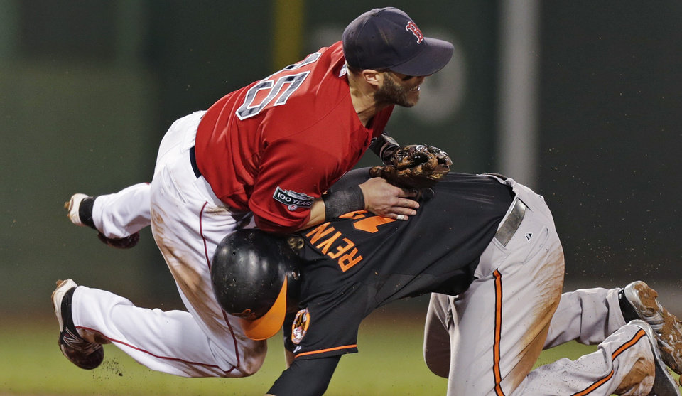 Photo -   Boston Red Sox second baseman Dustin Pedroia, left, collides with Baltimore Orioles' Mark Reynolds, who is out at second while unsuccessfully trying to break up a double play, during the sixth inning of a baseball game at Fenway Park in Boston, Friday, Sept. 21, 2012. (AP Photo/Charles Krupa)