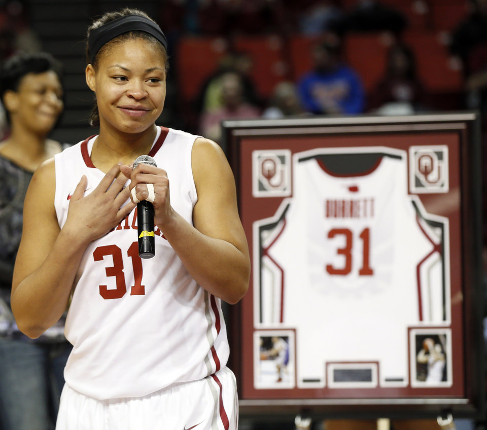 Photo - OU senior Portia Durrett (31) speaks after being recognized during senior night after a women's college basketball game between the Oklahoma Sooners and Texas Tech at Lloyd Noble Center in Norman, Okla., Monday, March 3, 2014. OU won 87-32. Photo by Nate Billings, The Oklahoman