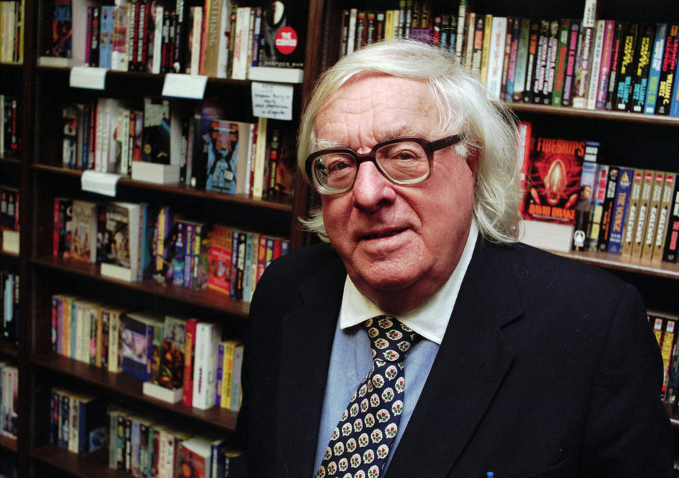 Photo -   FILE - This Jan. 29, 1997 file photo shows author Ray Bradbury at a signing for his book