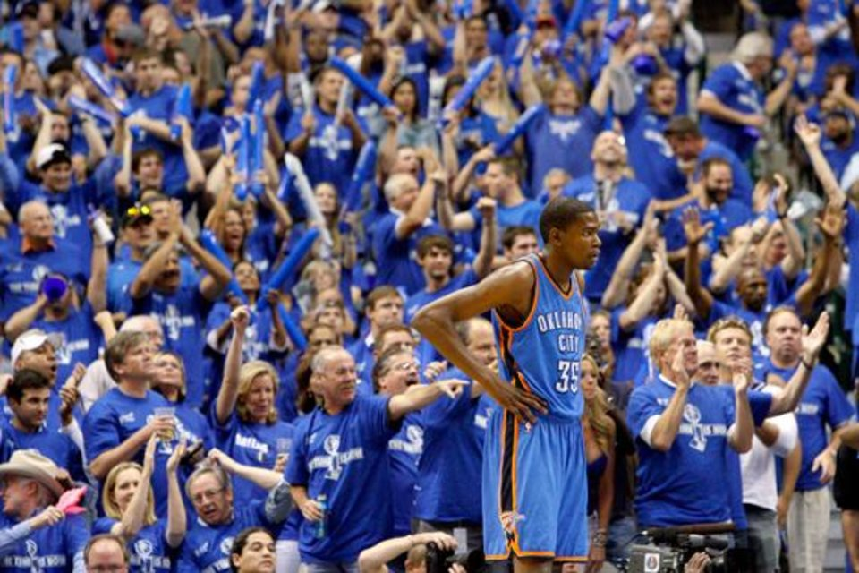 Photo -  Oklahoma City's Kevin Durant (35) stands in front of the crowd during game 5 of the Western Conference Finals in the NBA basketball playoffs between the Dallas Mavericks and the Oklahoma City Thunder at American Airlines Center in Dallas, Wednesday, May 25, 2011. Photo by Bryan Terry, The Oklahoman