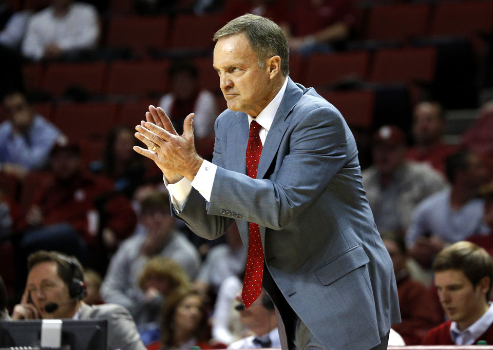 Oklahoma coach Lon Kruger applauds his team during an NCAA college basketball game between the University of Oklahoma and Texas Tech University at Lloyd Noble Center in Norman, Okla., Wednesday, Jan. 16, 2013. Photo by Bryan Terry, The Oklahoman
