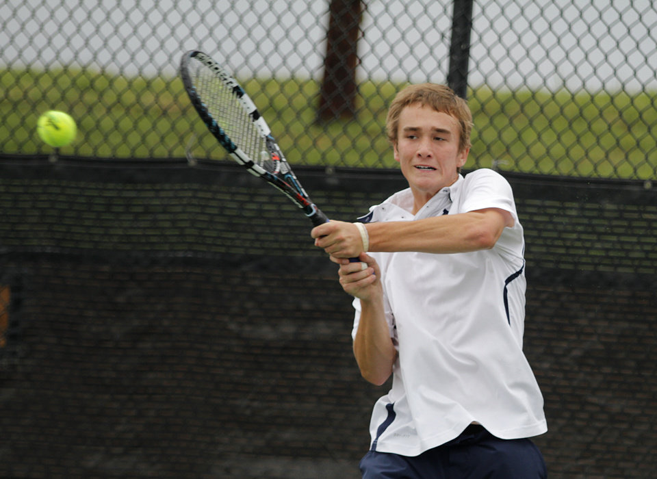 Photo - Nate Roper, of Edmond North, competes in 6A Boys Singles during the 2012 OSSAA Boys High School State Tennis Tournament at the OKC Tennis Center at Will Rogers Park in Oklahoma City, Saturday, May 12, 2012.  Photo by Garett Fisbeck, For The Oklahoman