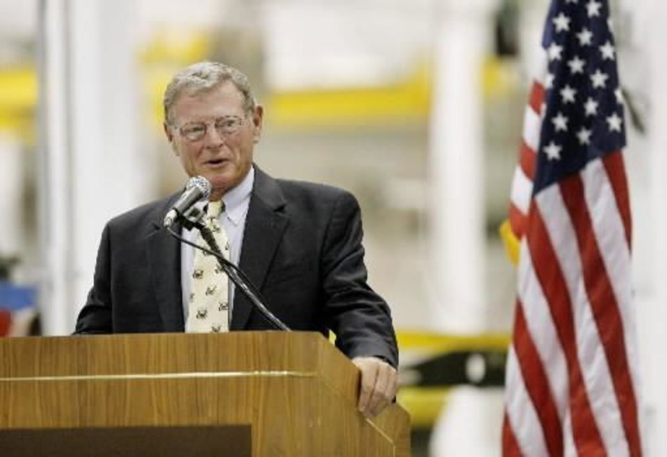 Senator  Jim  Inhofe speaking during an open house for Building 9001 in the Tinker Aerospace Complex, formerly the General Motors plant, in Oklahoma City Monday, August 17, 2009. Photo by Paul B. Southerland