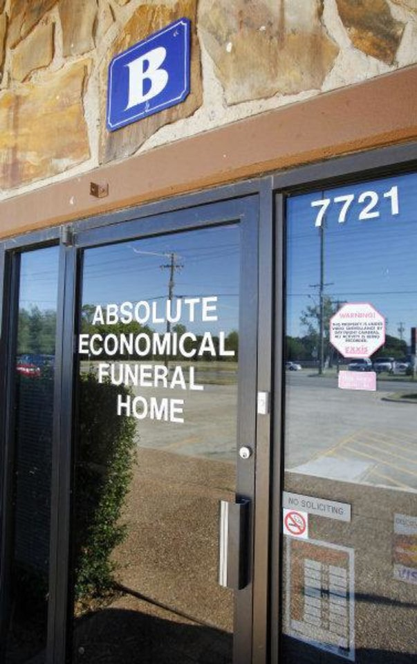 Photo - Absolute Economical Funeral Home, 7721 NW 10 St., in Oklahoma City Thursday, Sept. 8, 2011. Photo by Paul B. Southerland, The Oklahoman