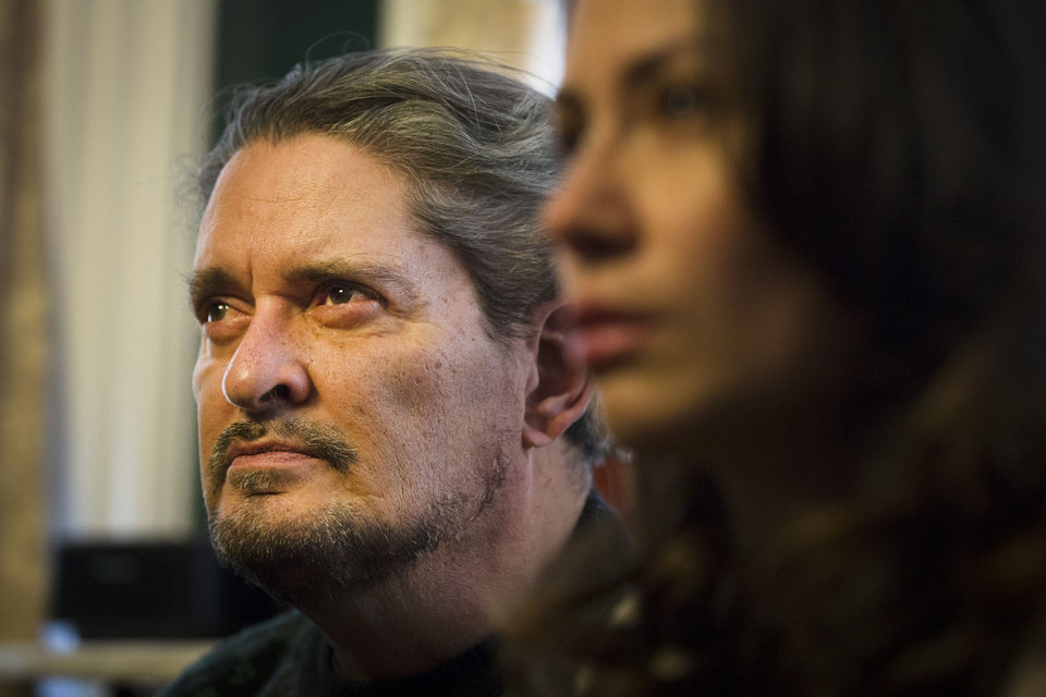 Photo - Dennis Jimenez, father of 33-year-old Sarai Sierra who was found dead on Saturday in Turkey, listens to a reporter's question during a news conference at a friend's home in Staten Island, Monday, Feb. 4, 2013, in New York. Sierra went missing while vacationing alone in Istanbul on Jan. 21, the day she was due to board her flight back home.   (AP Photo/John Minchillo)