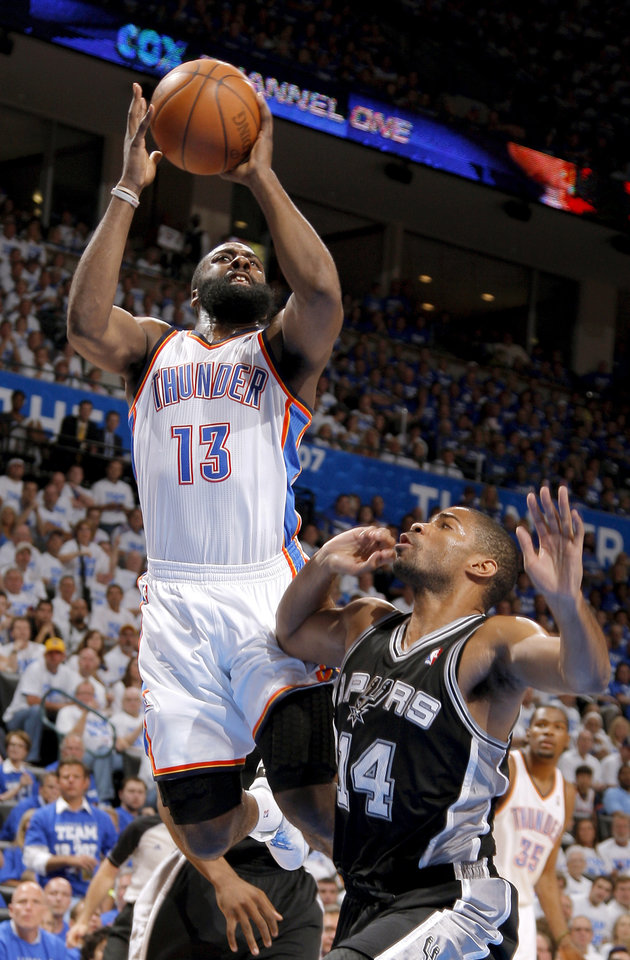 Photo - Oklahoma City's Kevin Durant (35) shoots the ball over San Antonio's Gary Neal (14) during Game 4 of the Western Conference Finals between the Oklahoma City Thunder and the San Antonio Spurs in the NBA playoffs at the Chesapeake Energy Arena in Oklahoma City, Saturday, June 2, 2012. Oklahoma CIty won 109-103. Photo by Bryan Terry, The Oklahoman