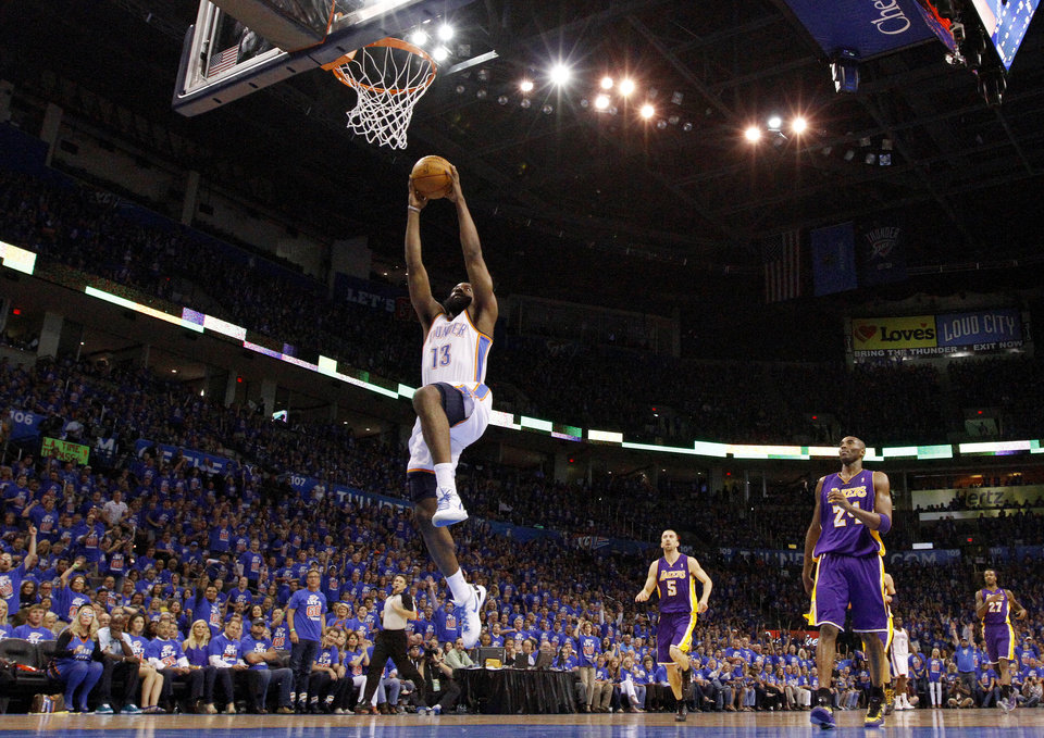 Oklahoma City\'s James Harden (13) goes to the basket during Game 5 in the second round of the NBA playoffs between the Oklahoma City Thunder and the L.A. Lakers at Chesapeake Energy Arena in Oklahoma City, Monday, May 21, 2012. Photo by Sarah Phipps, The Oklahoman