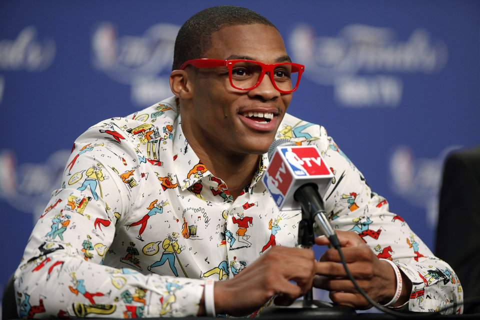 Photo - NBA BASKETBALL: Oklahoma City's Russell Westbrook smiles during a press conference after Game 1 of the NBA Finals between the Oklahoma City Thunder and the Miami Heat at Chesapeake Energy Arena in Oklahoma City, Tuesday, June 12, 2012. Photo by Bryan Terry, The Oklahoman