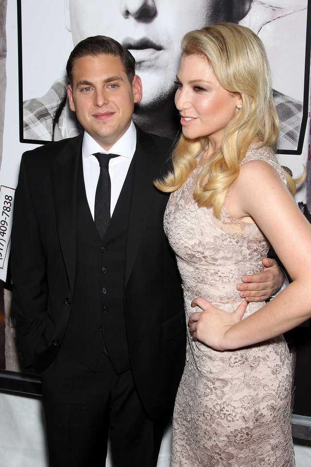 Photo - Actors Jonah Hill, left, and Ari Graynor pose at the premiere of their film,