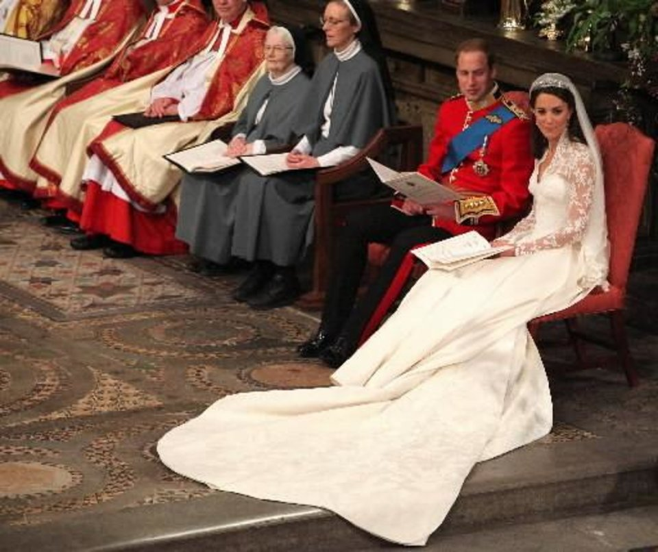 Photo - Britain's Prince William and Kate Middleton at Westminster Abbey, London, during their wedding service, Friday April 29, 2011. (AP Photo/Anthony Devlin, Pool)