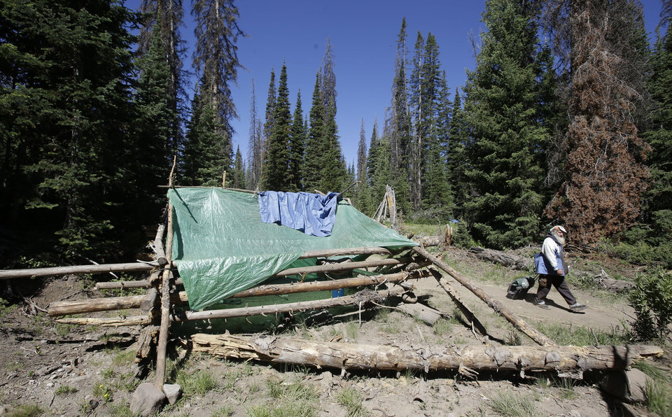 Photo - A person walks along a trail in one of the Rainbow Family encampments Tuesday, July 1, 2014, in the Uinta National Forest, Utah. About 4,000 members of a counterculture group known as the Rainbow Family have poured into the woods about 60 miles east of Salt Lake City for an annual festival that culminates in a four-day celebration beginning Tuesday. (AP Photo/Rick Bowmer)