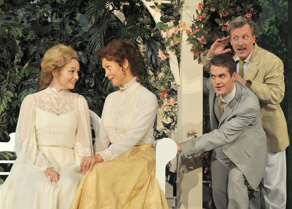 Photo - From left, Lauren Thompson stars as Hero, Stacey Logan as Beatrice Alex Enterline as Claudio and Lane Fields as Benedick in Shakespeare's