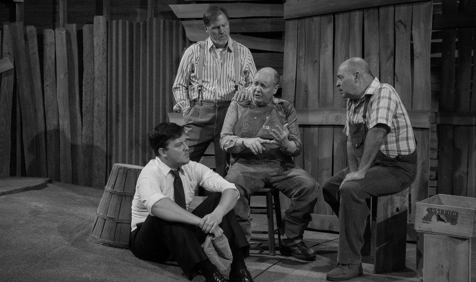 "Photo - Clockwise from top, Sonny Franks, David Coffee, Michael Corolla and Cameron Cobb appear in Oklahoma City University and Oklahoma City Repertory Theatre's 2014 production of ""The Grapes of Wrath."" [Photo provided]"