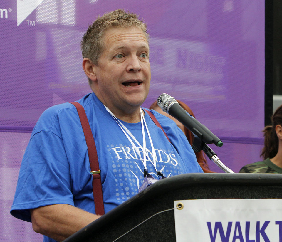 Allen Cole speaks to walkers during the 2012 Oklahoma City Walk to End Alzheimer\'s at Bricktown Ballpark in Oklahoma City, OK, Saturday, September 15, 2012, By Paul Hellstern, The Oklahoman