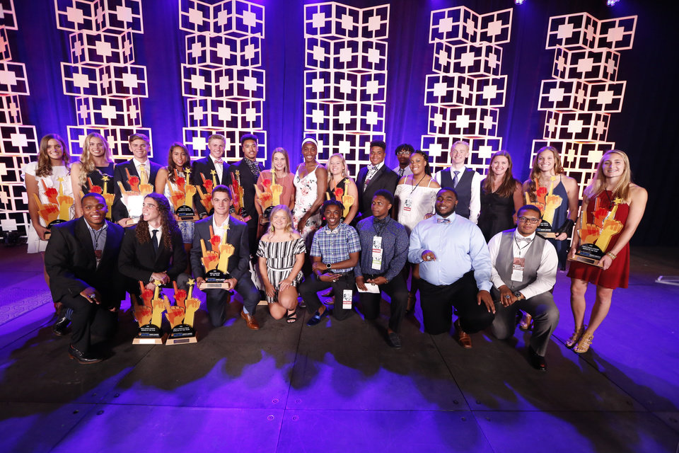 Photo - Honorees pose for a group photograph following the Oklahoman's All-City Prep Sports Awards, celebrating top high school athletes, at the Cox Convention Center on Tuesday, June 26, 2018 in Oklahoma City, Okla.  Photo by Steve Sisney, The Oklahoman