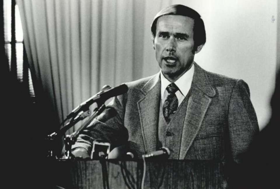 Photo -  In his introductory news conference as OU men's basketball coach in April of 1980, Billy Tubbs promised that the Sooners would contend for the NCAA title. Tubbs, who led OU to the 1988 final, died Sunday at age 85. Tubbs won a school-record 333 games and made nine NCAA tournament appearances in 14 seasons at OU. [OKLAHOMAN ARCHIVES]