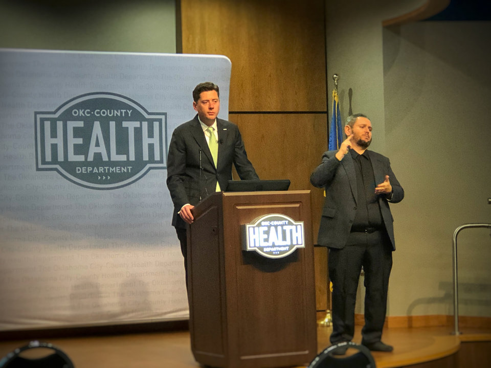 Photo - Oklahoma City Mayor David Holt went to the Oklahoma City-County Health Department Tuesday afternoon to announce he was expanding emergency restrictions, including closures, to restaurants and bars to try to arrest the spread of coronavirus. [Dave Morris/The Oklahoman].