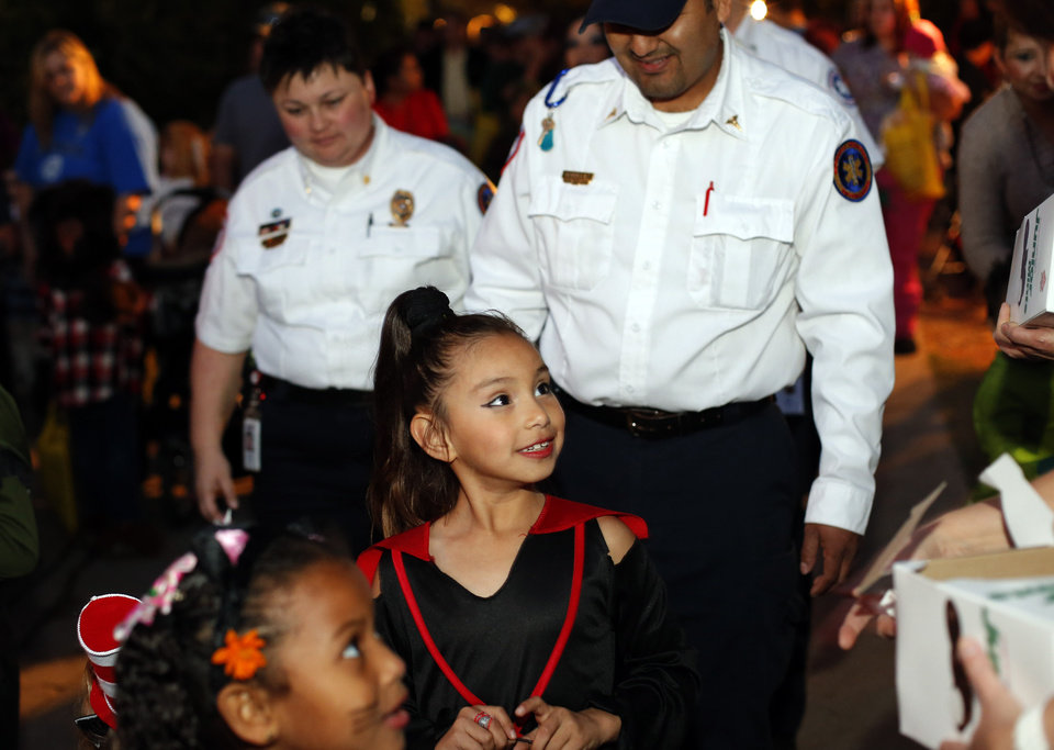 Heather Yazdanipour and Nemuel Gutierrez with EMSA escort Bianca Ortiz during Haunt the Zoo at the Oklahoma City Zoo in  Oklahoma City, Tuesday, Oct. 30, 2012. Photo by Sarah Phipps, The Oklahoman